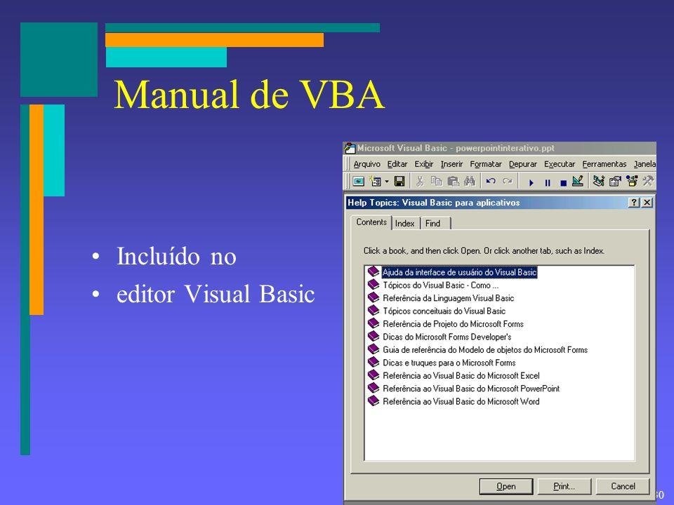 Manual de VBA Incluído no editor Visual Basic