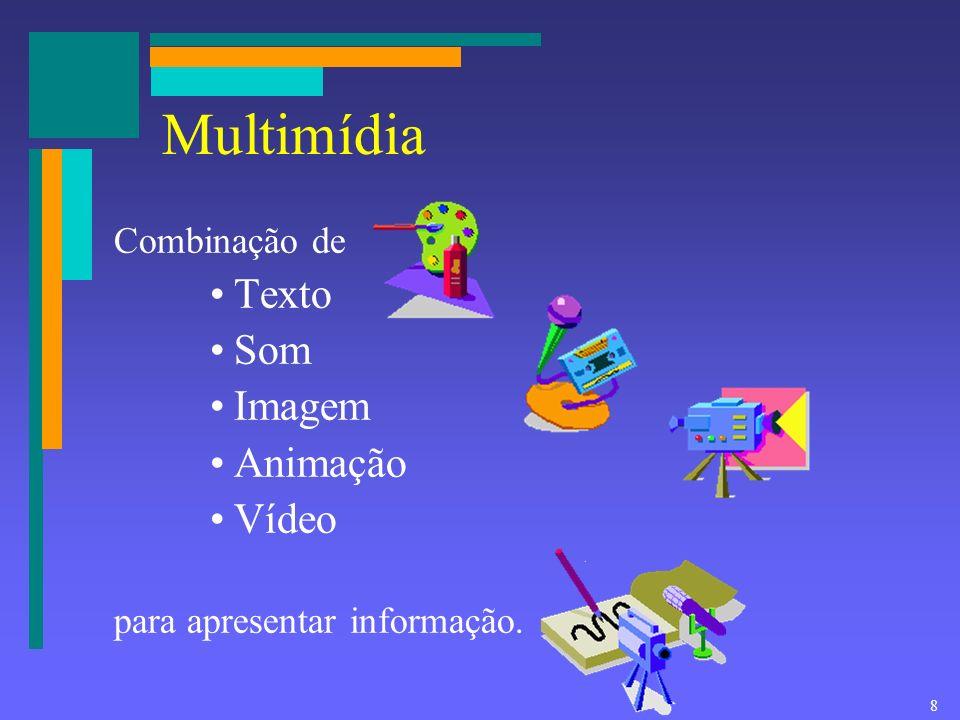 Multimídia Texto Som Imagem Animação Vídeo Combinação de