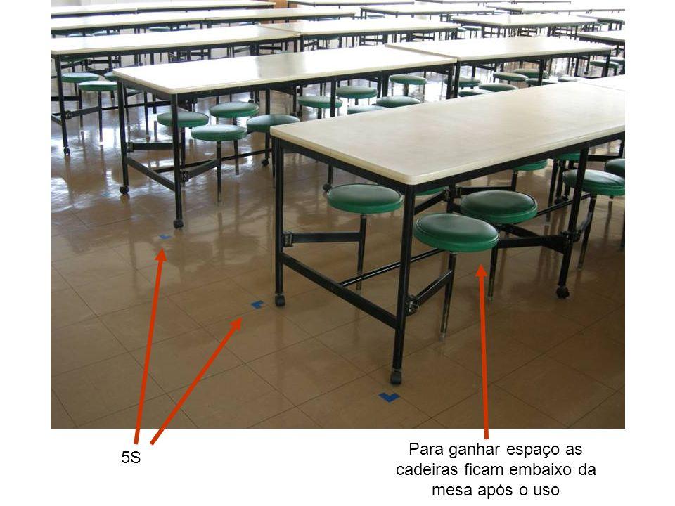 Para ganhar espaço as cadeiras ficam embaixo da mesa após o uso