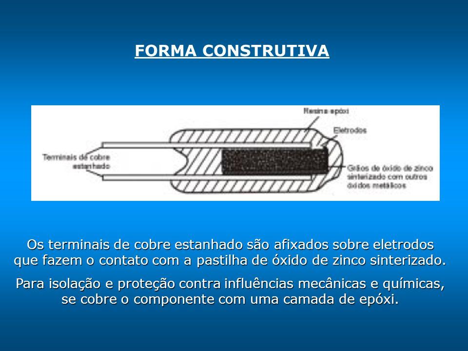 FORMA CONSTRUTIVA Os terminais de cobre estanhado são afixados sobre eletrodos que fazem o contato com a pastilha de óxido de zinco sinterizado.