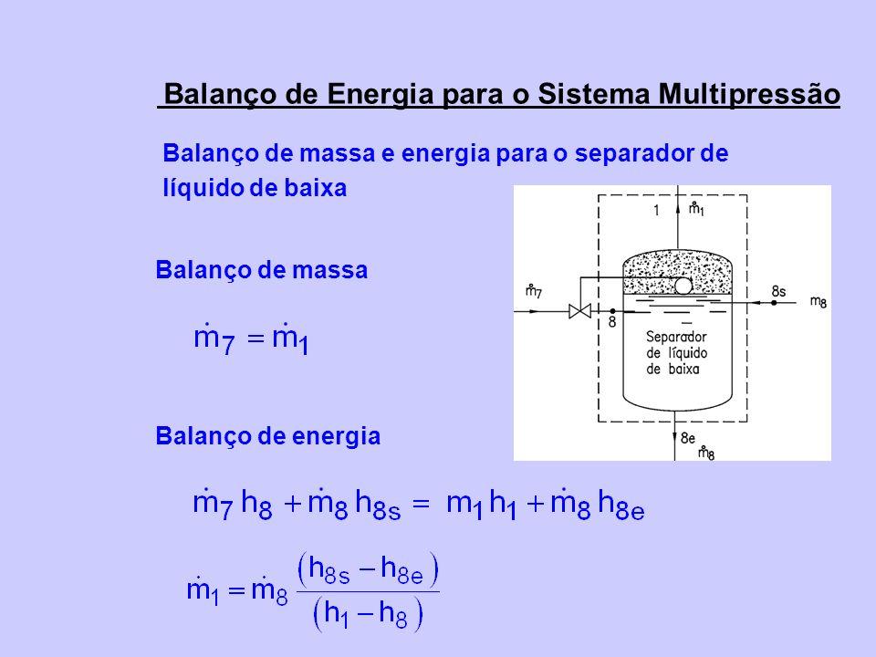 Balanço de massa e energia para o separador de líquido de baixa