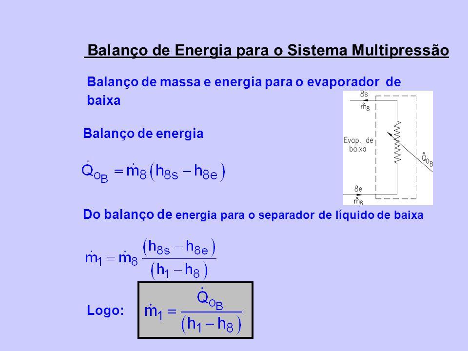 Balanço de massa e energia para o evaporador de baixa