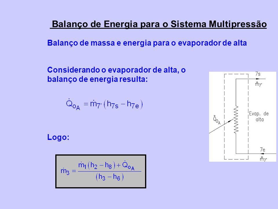 Balanço de massa e energia para o evaporador de alta