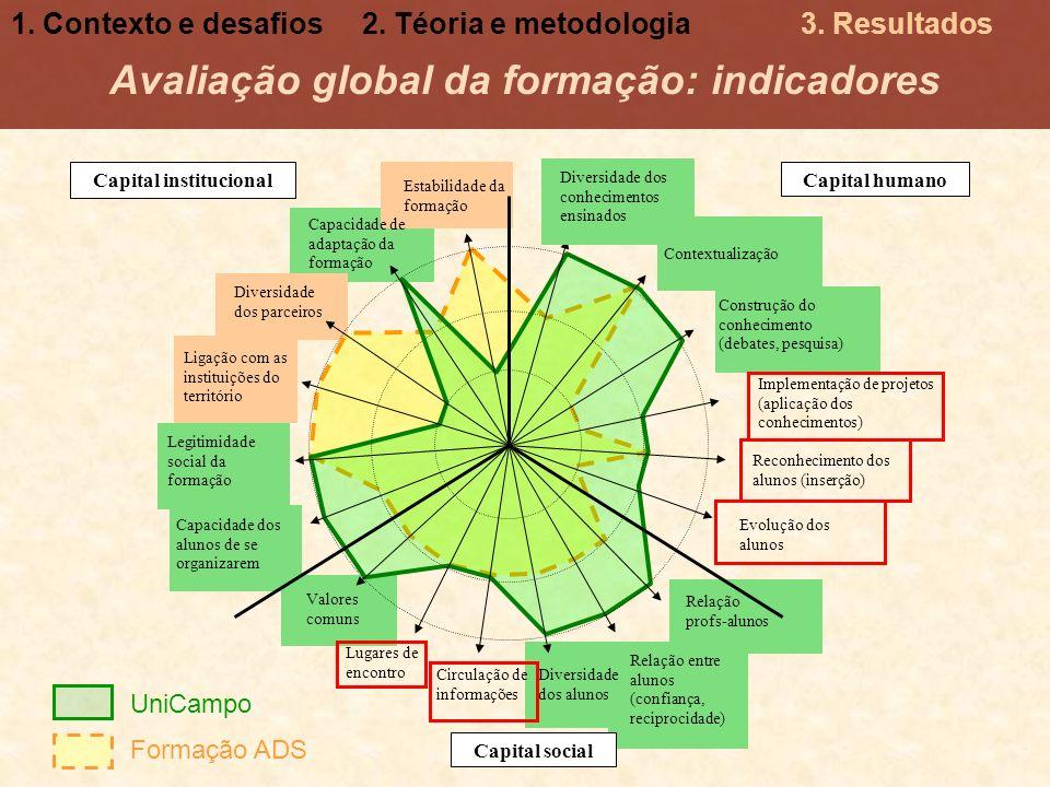 Avaliação global da formação: indicadores Capital institucional