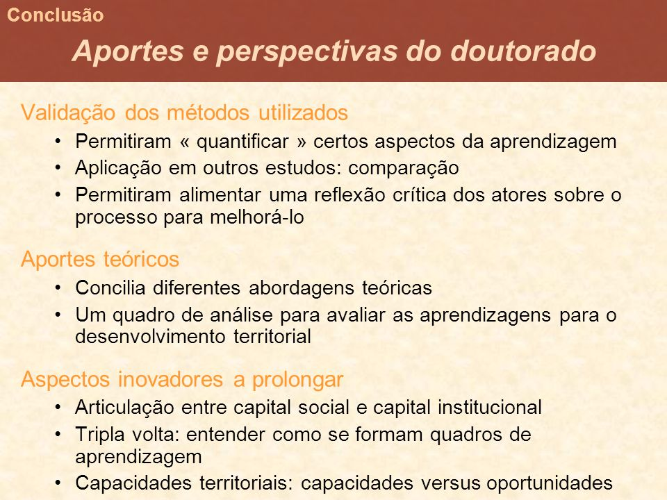 Aportes e perspectivas do doutorado