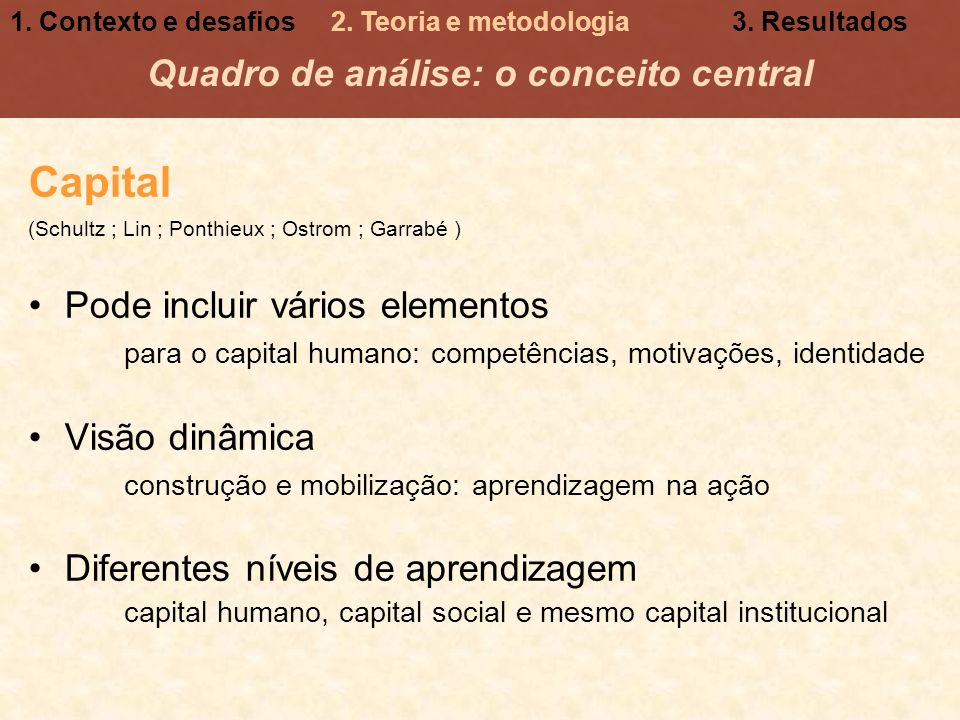 Quadro de análise: o conceito central