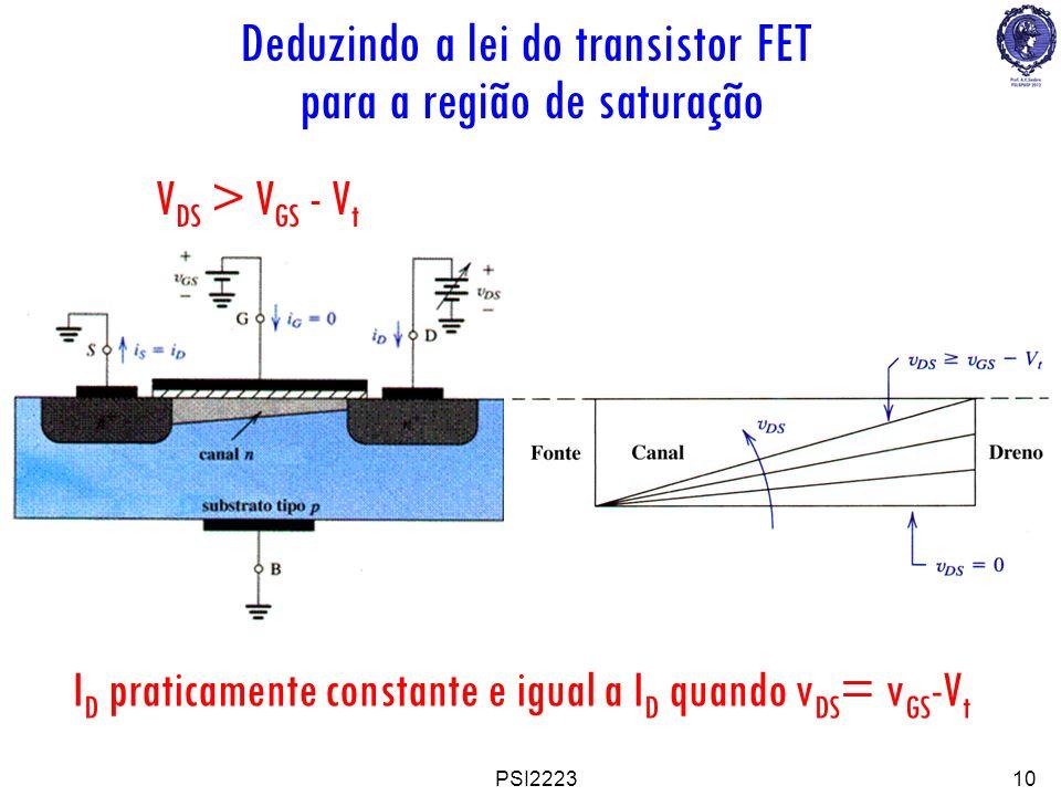 Deduzindo a lei do transistor FET para a região de saturação