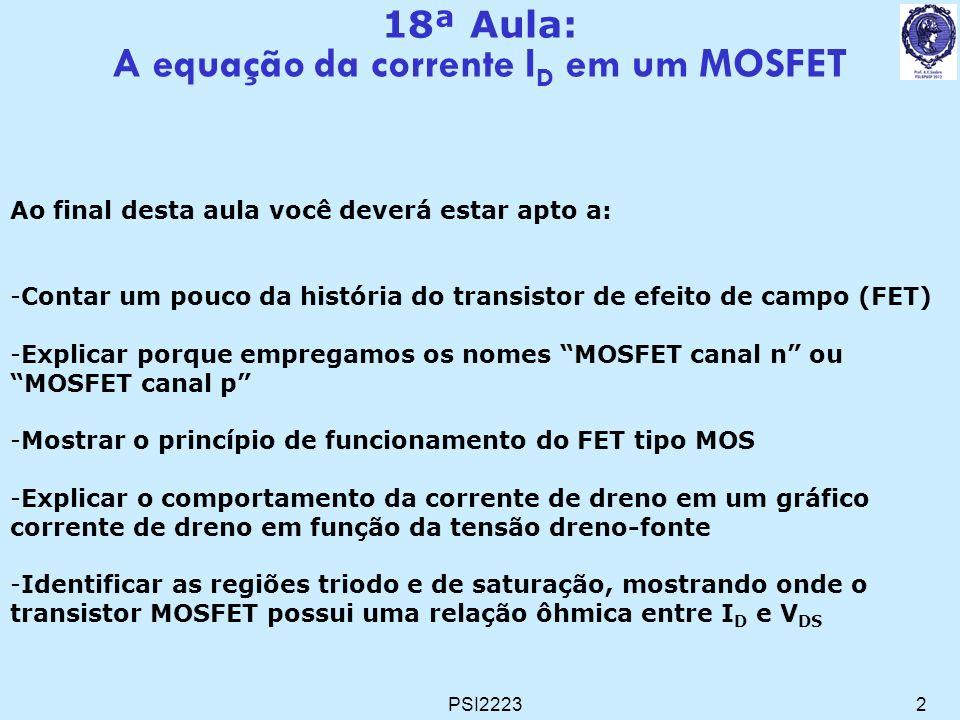 A equação da corrente ID em um MOSFET
