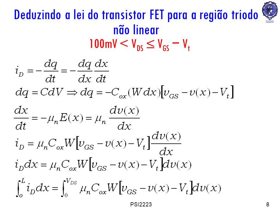 Deduzindo a lei do transistor FET para a região triodo não linear