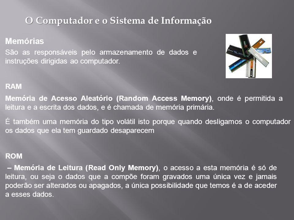 Memórias São as responsáveis pelo armazenamento de dados e instruções dirigidas ao computador. RAM.