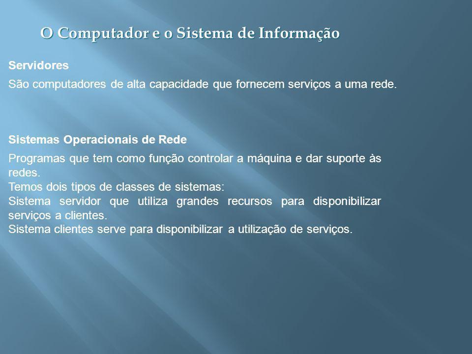 Servidores São computadores de alta capacidade que fornecem serviços a uma rede. Sistemas Operacionais de Rede.