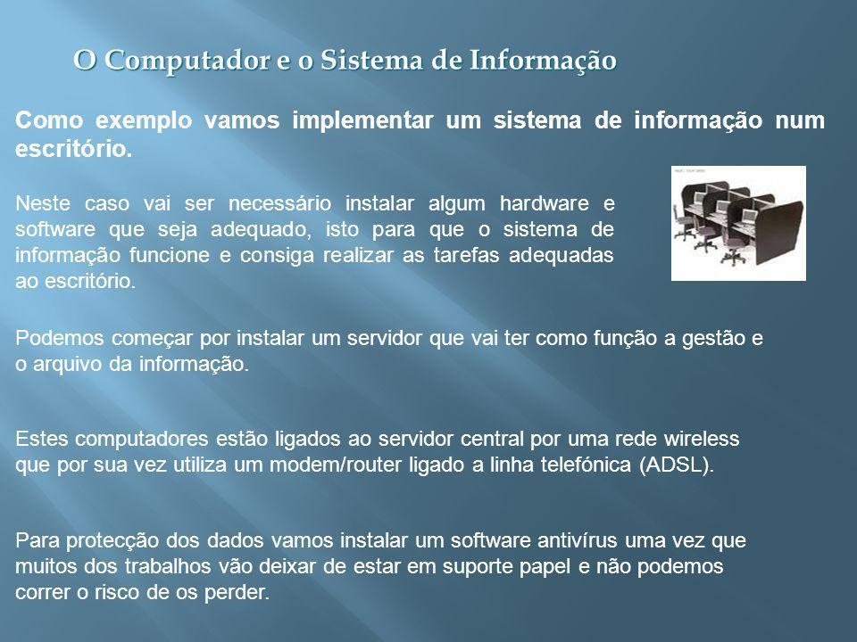 Como exemplo vamos implementar um sistema de informação num escritório.