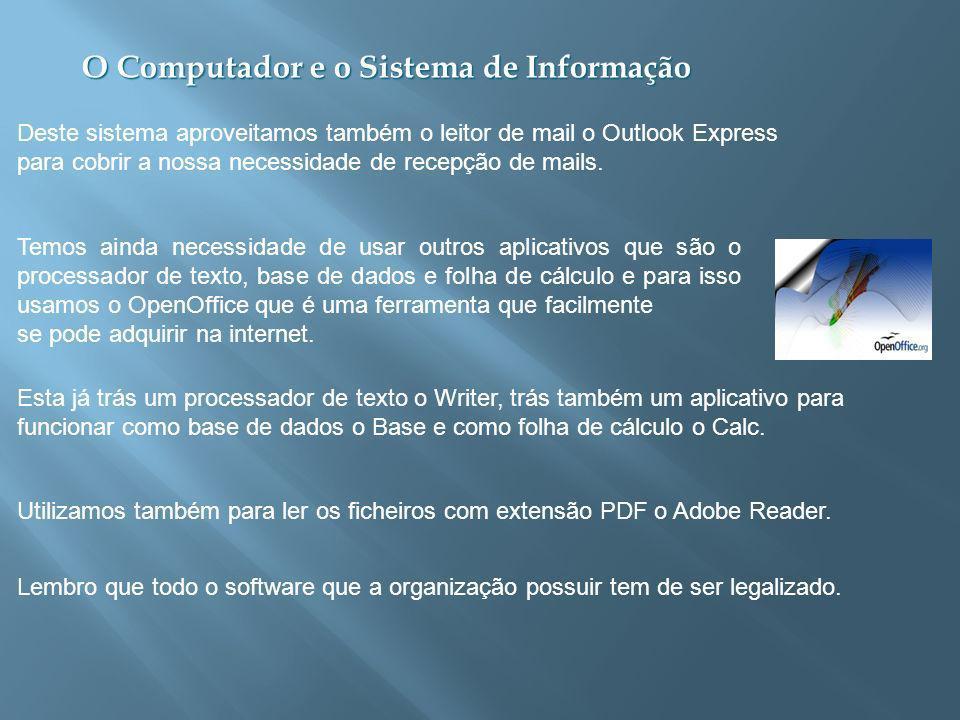 Deste sistema aproveitamos também o leitor de mail o Outlook Express para cobrir a nossa necessidade de recepção de mails.