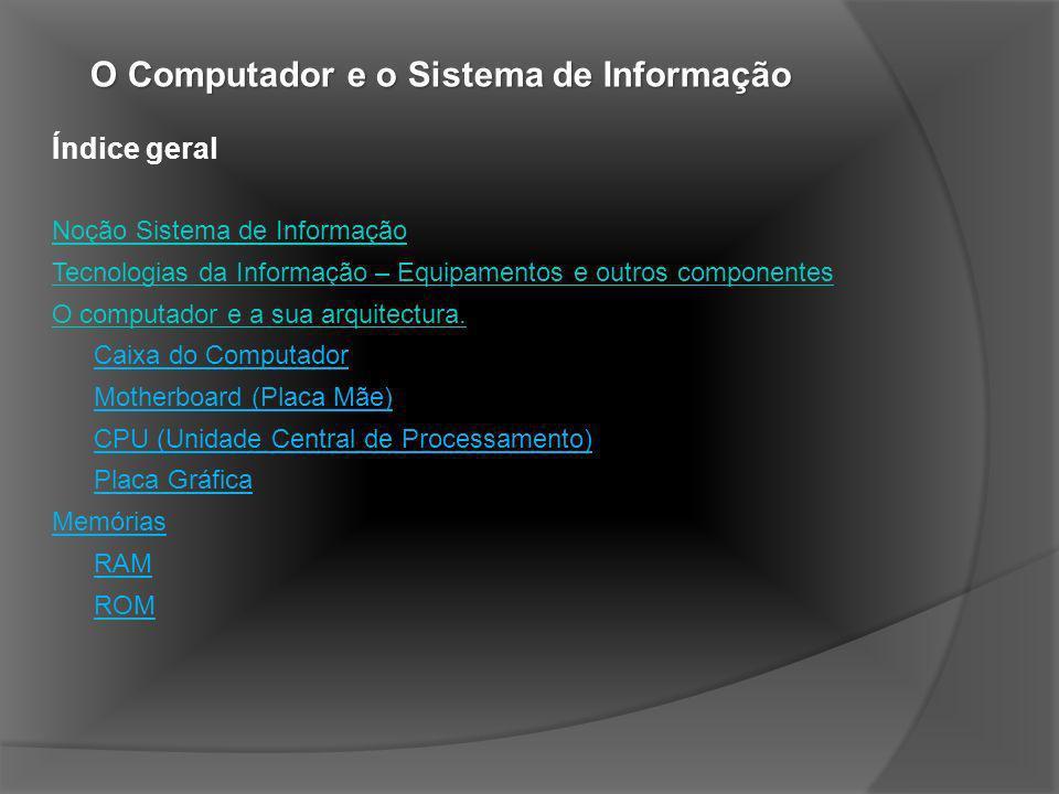 Índice geral Noção Sistema de Informação