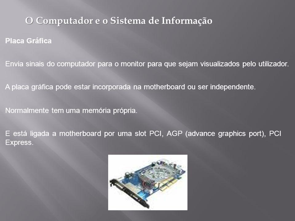 Placa Gráfica Envia sinais do computador para o monitor para que sejam visualizados pelo utilizador.