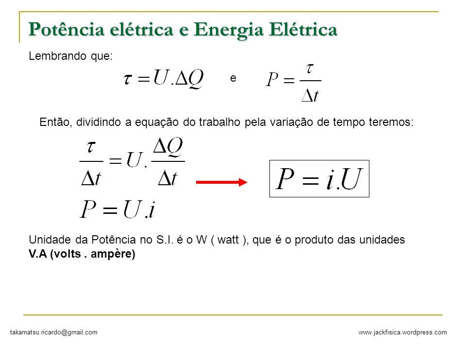 Potência elétrica e Energia Elétrica