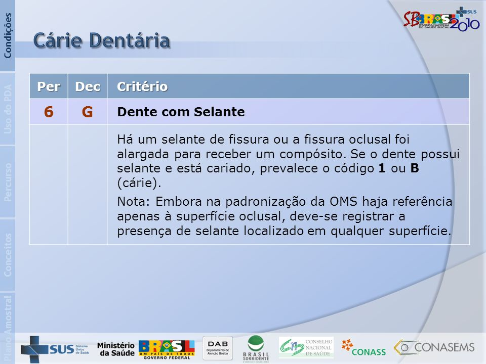 Cárie Dentária 6 G Per Dec Critério Dente com Selante