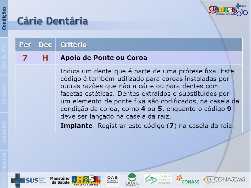 Cárie Dentária 7 H Per Dec Critério Apoio de Ponte ou Coroa
