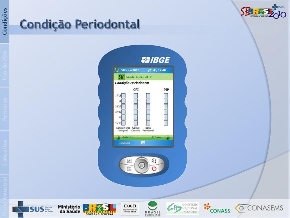Condição Periodontal Condições Uso do PDA Percurso Conceitos
