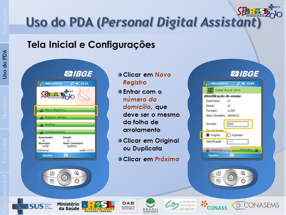 Uso do PDA (Personal Digital Assistant)