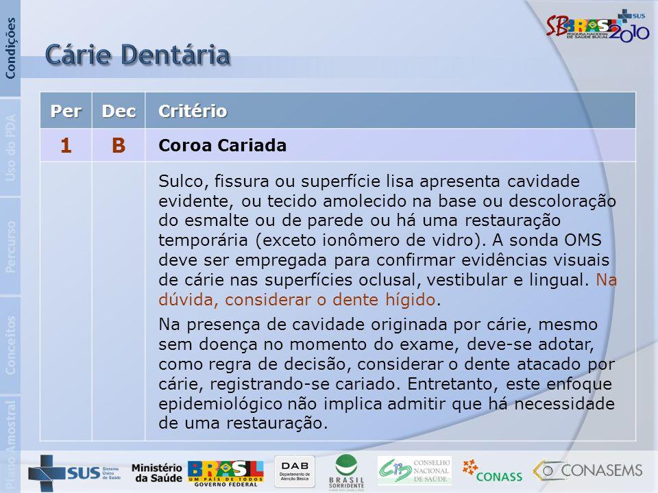 Cárie Dentária 1 B Per Dec Critério Coroa Cariada