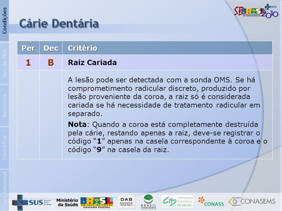 Cárie Dentária 1 B Per Dec Critério Raiz Cariada