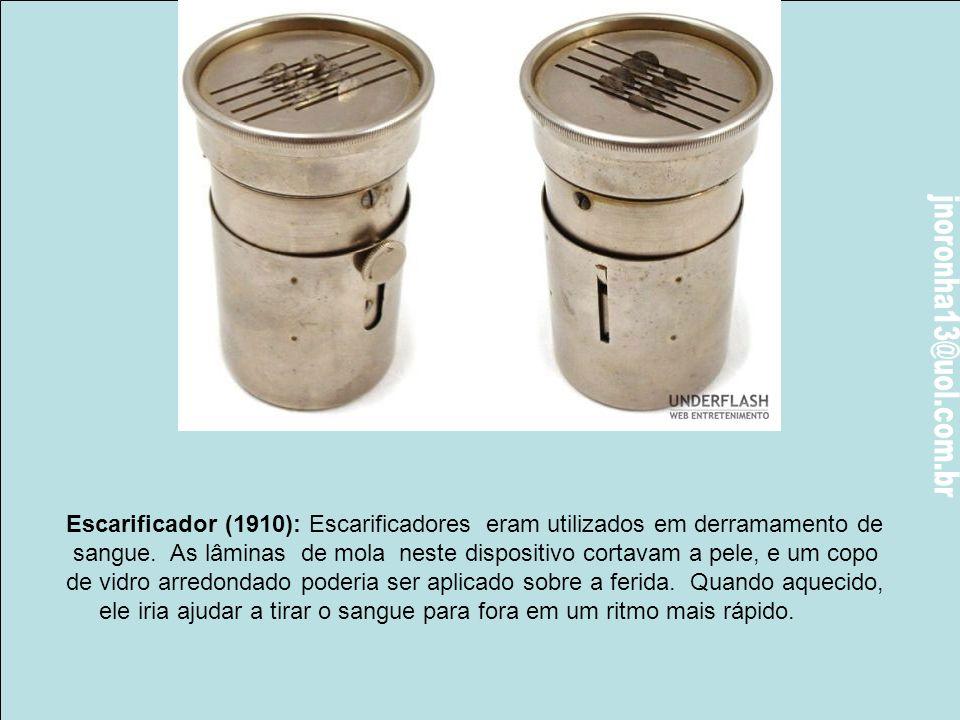 Escarificador (1910): Escarificadores eram utilizados em derramamento de