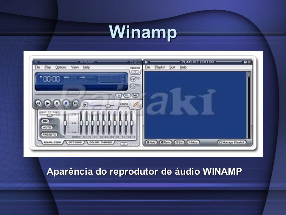 Aparência do reprodutor de áudio WINAMP