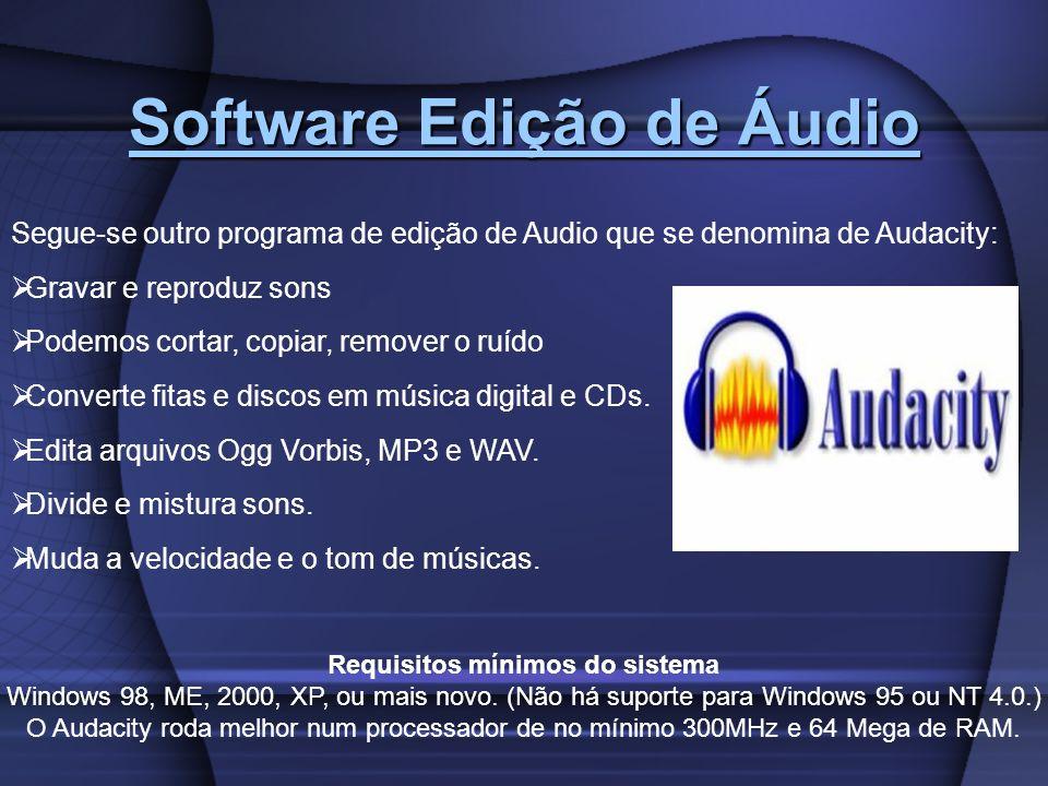 Software Edição de Áudio Requisitos mínimos do sistema