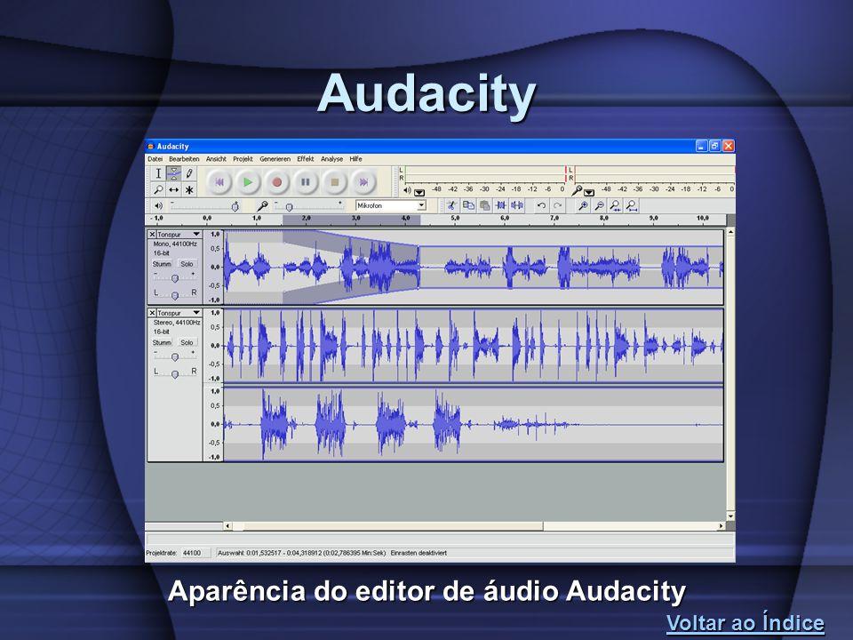 Aparência do editor de áudio Audacity