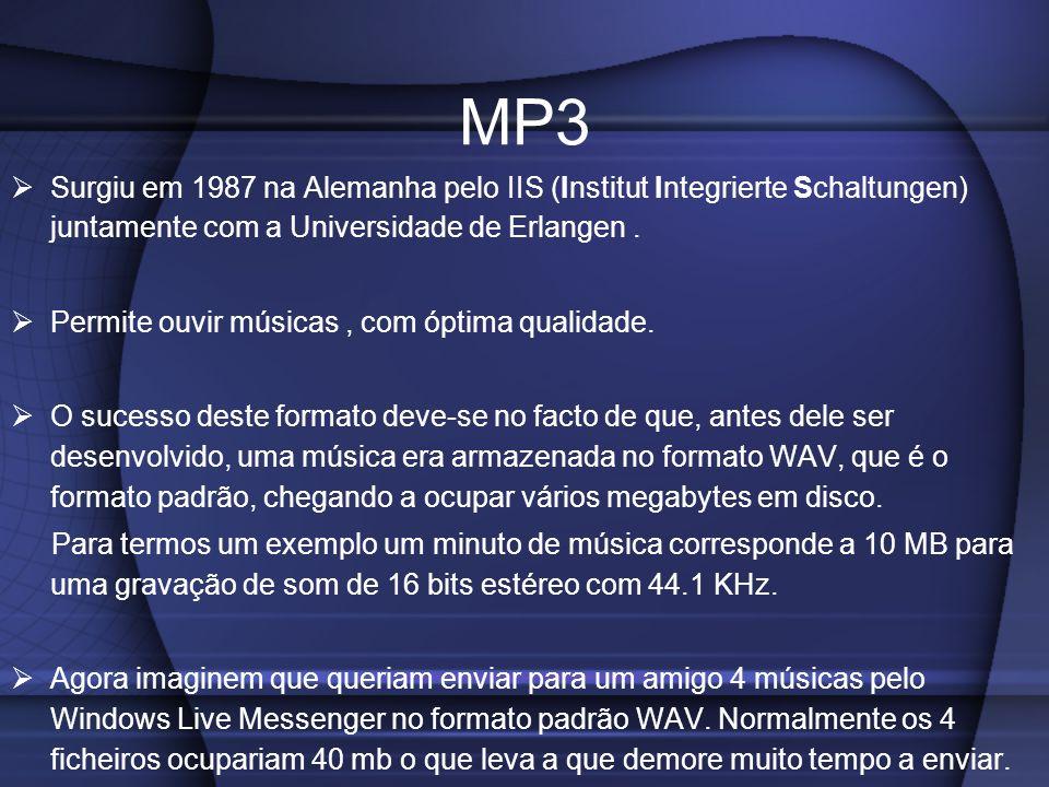 MP3 Surgiu em 1987 na Alemanha pelo IIS (Institut Integrierte Schaltungen) juntamente com a Universidade de Erlangen .