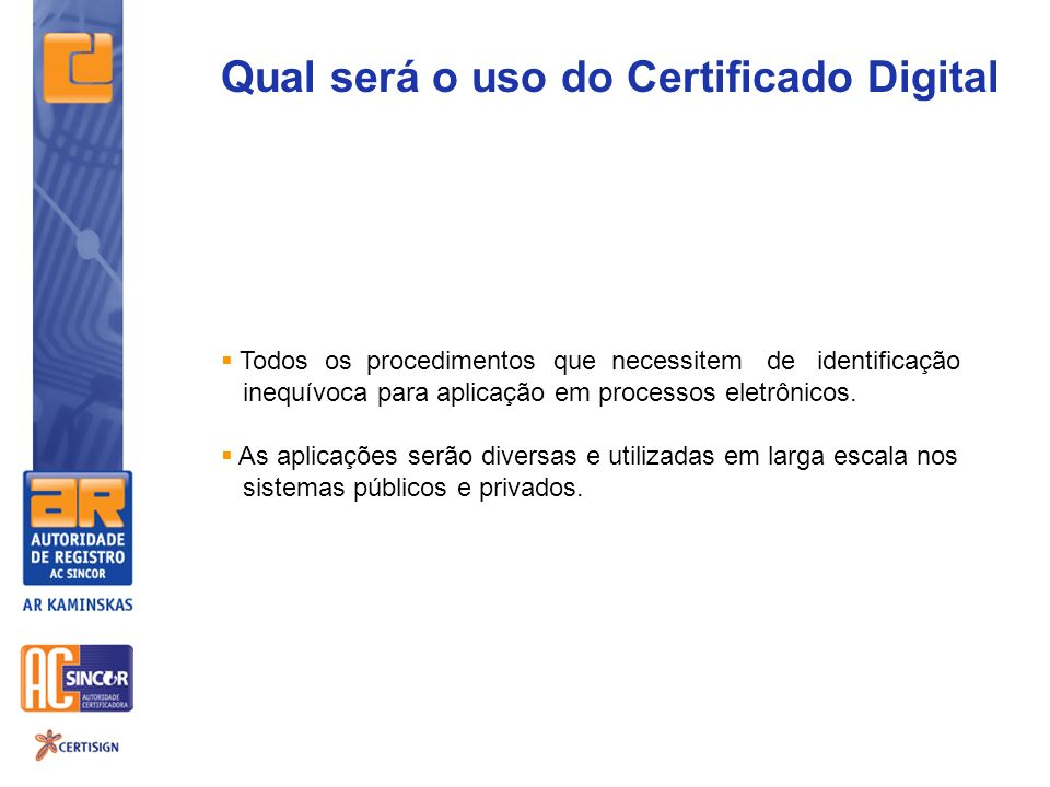 Qual será o uso do Certificado Digital