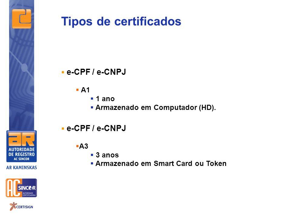 Tipos de certificados e-CPF / e-CNPJ A1 1 ano