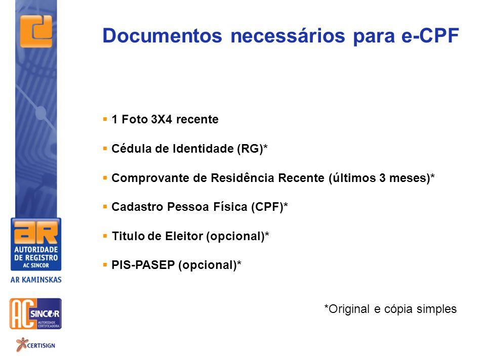 Documentos necessários para e-CPF