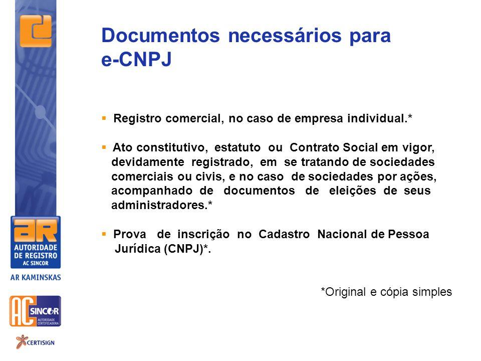 Documentos necessários para e-CNPJ