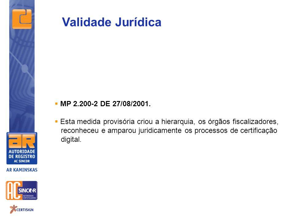 Validade Jurídica MP 2.200-2 DE 27/08/2001.