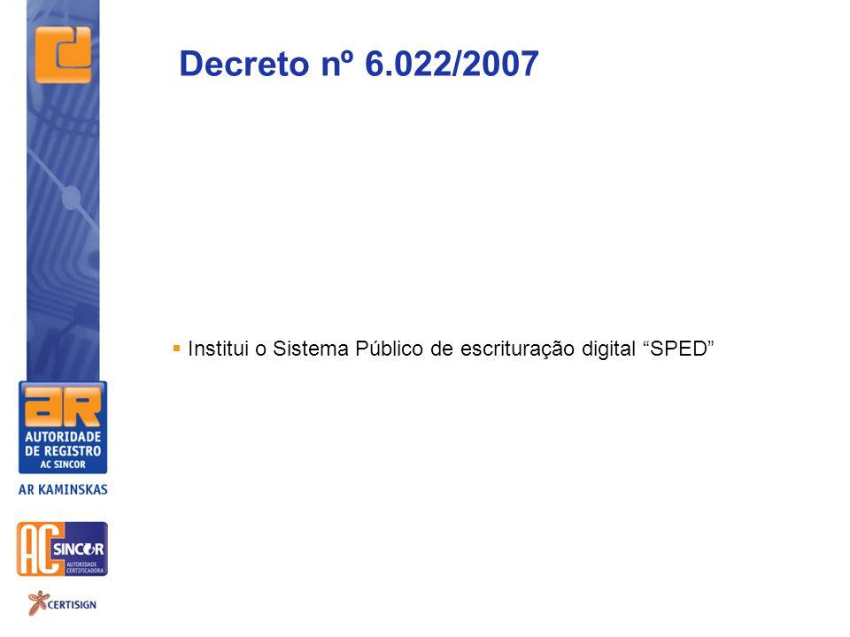 Decreto nº 6.022/2007 Institui o Sistema Público de escrituração digital SPED