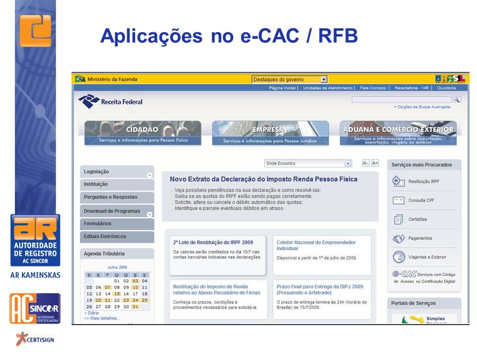 Aplicações no e-CAC / RFB