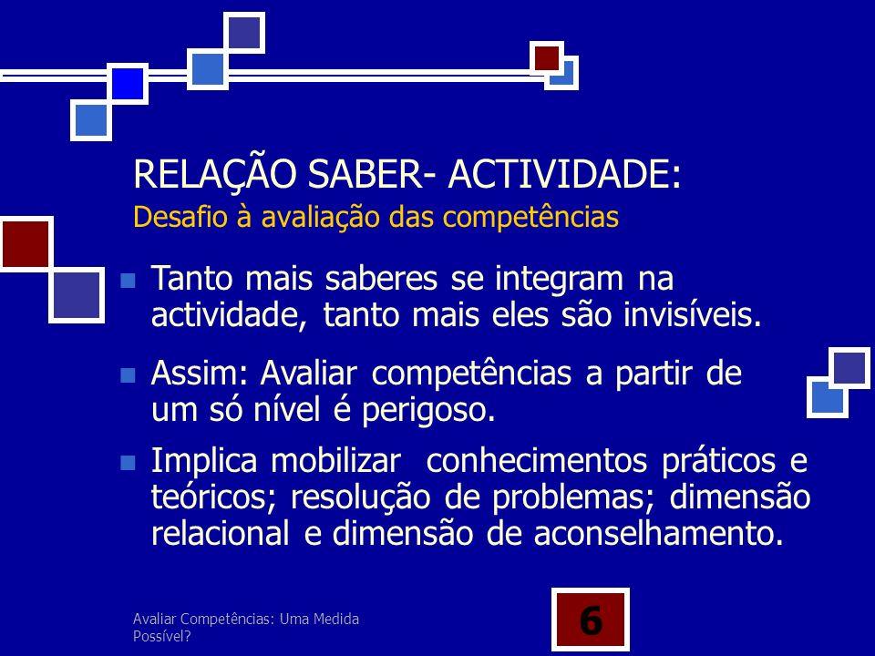 RELAÇÃO SABER- ACTIVIDADE: Desafio à avaliação das competências