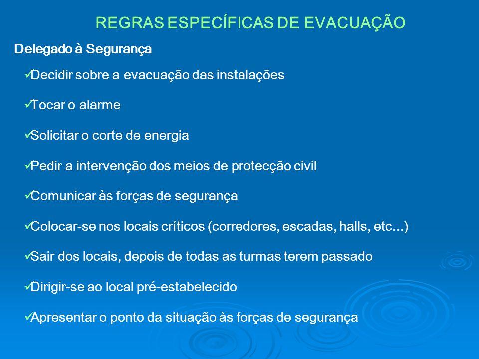 REGRAS ESPECÍFICAS DE EVACUAÇÃO