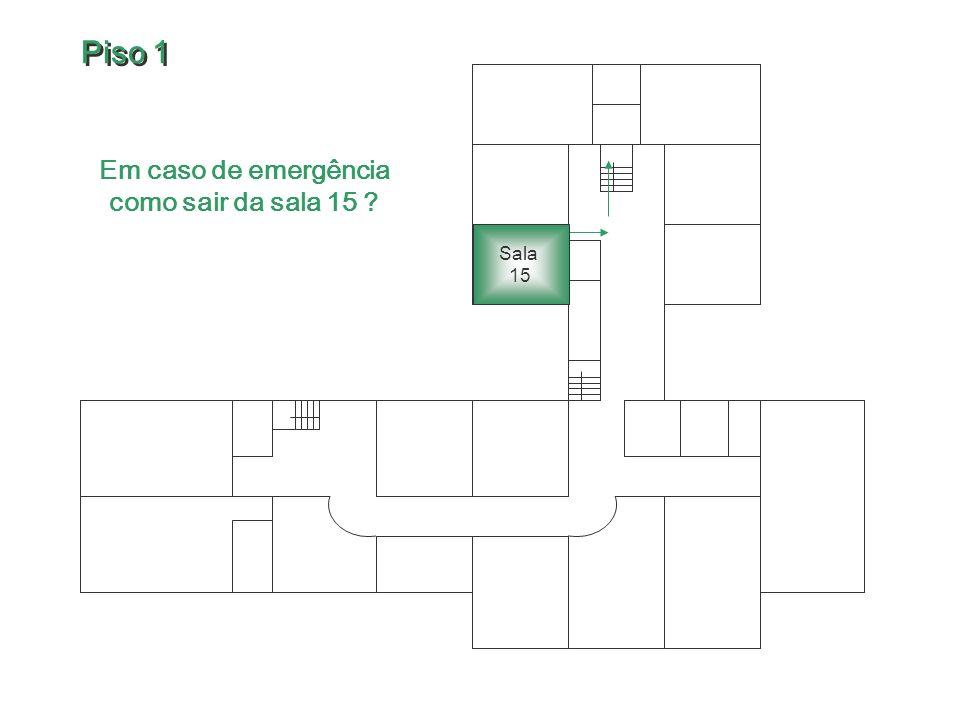 Em caso de emergência como sair da sala 15