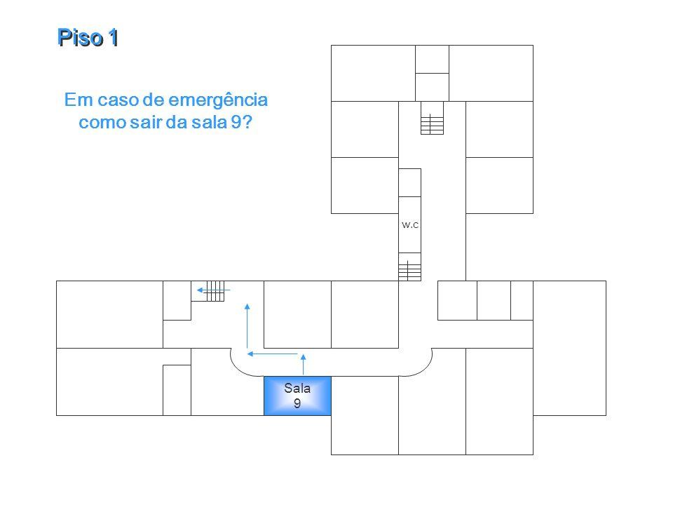 Em caso de emergência como sair da sala 9