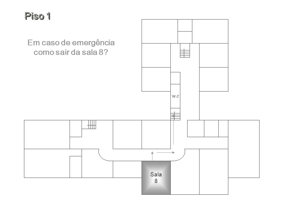 Em caso de emergência como sair da sala 8