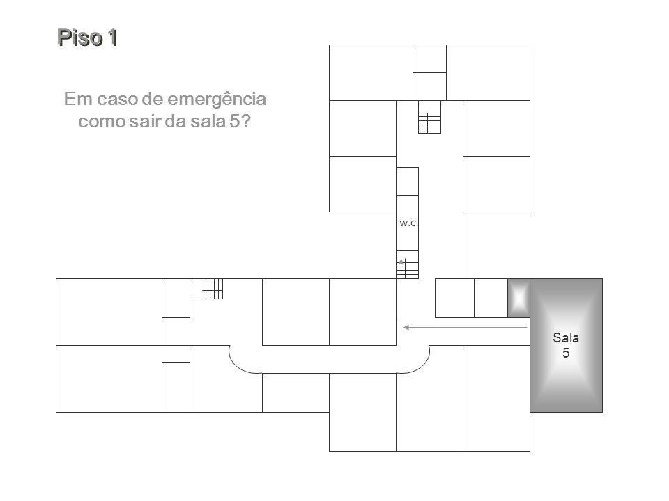 Em caso de emergência como sair da sala 5