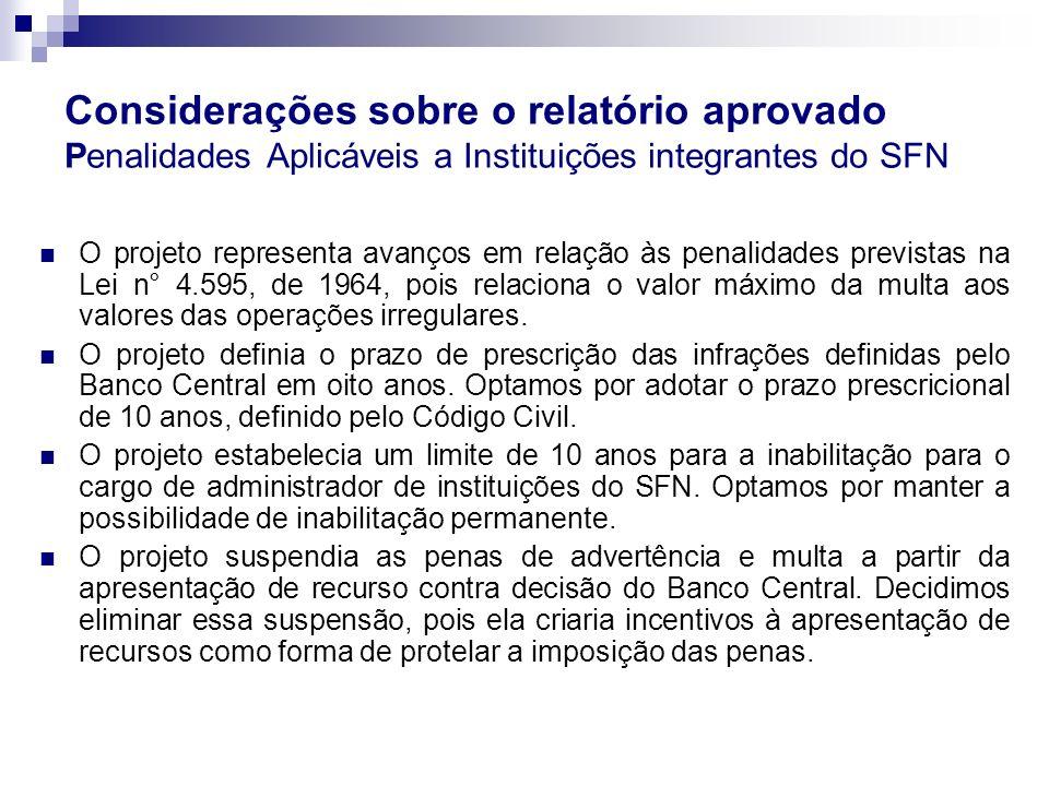 Considerações sobre o relatório aprovado Penalidades Aplicáveis a Instituições integrantes do SFN