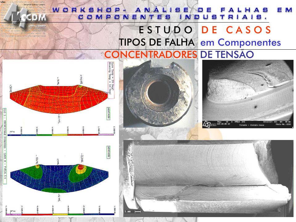 E S T U D O D E C A S O S TIPOS DE FALHA em Componentes CONCENTRADORES DE TENSÃO