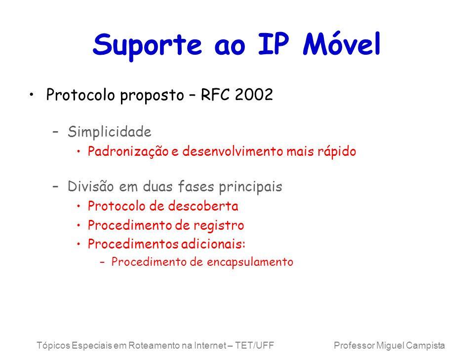 Suporte ao IP Móvel Protocolo proposto – RFC 2002 Simplicidade
