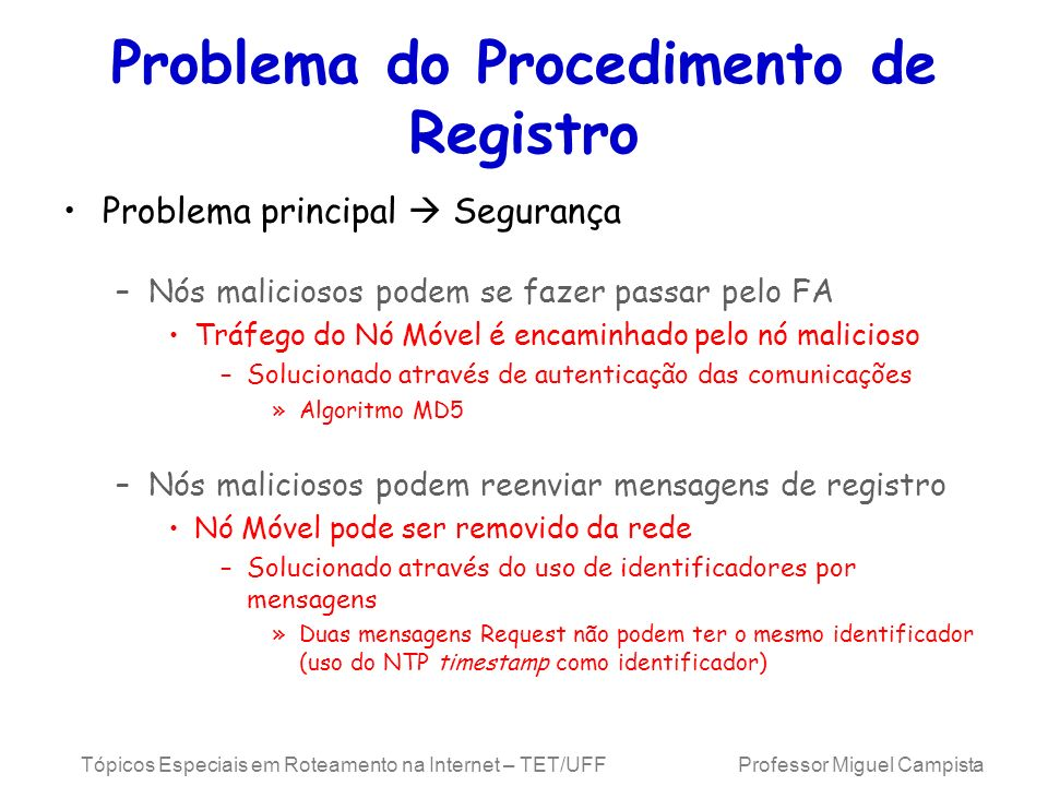 Problema do Procedimento de Registro