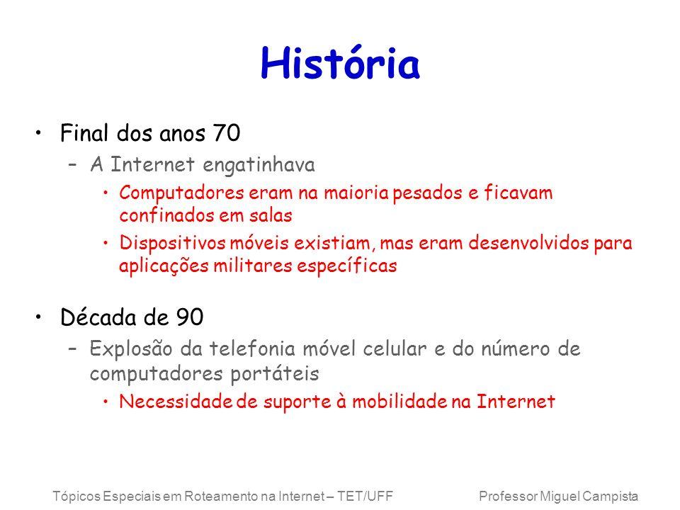 História Final dos anos 70 Década de 90 A Internet engatinhava