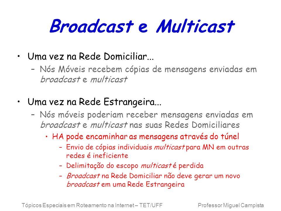 Broadcast e Multicast Uma vez na Rede Domiciliar...